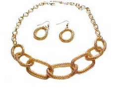 Plus Size Necklace and Earrings Gold Tone Mesh
