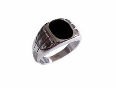 Plus Size Ring Men's Stainless Steel Black Onyx