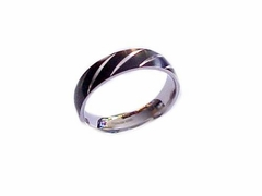 Plus Size Ring Stainless Steel Black Band Stripe