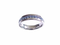 Plus Size Ring Stainless Steel Blue Cz Size 10-12