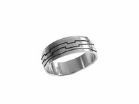 Plus Size Ring Stainless Steel Etched Lines Band