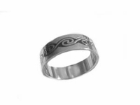 Plus Size Ring Stainless Steel Fancy Center Band