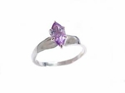Plus Size Ring Sterling Silver Amethyst Marquise