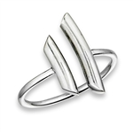 Plus Size Ring Sterling Silver Curved Open Bars