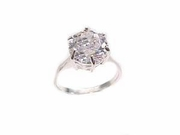 Plus Size Ring Sterling Silver Engagement Ring Large Solitaire