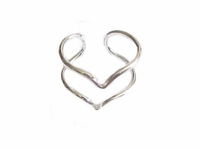 Plus Size Ring Sterling Silver Front Double V