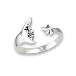 Plus Size Ring Silver Man in Moon and Star