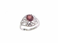 Plus Size Ring Sterling Silver Garnet Filigree
