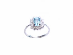 Plus Size Ring Sterling Silver Blue Topaz and Cz