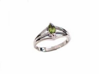 Plus Size Ring Marquise Peridot Sterling Silver