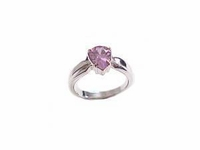 Plus Size Ring Pink CZ Pear Sterling Silver Size 10