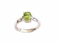 Plus Size Ring Women's Sterling Silver Oval Peridot