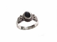 Plus Size Ring Sterling Silver Ring Oval Black Onyx