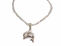 Plus Size Sterling Silver Ankle Bracelet Dolphin
