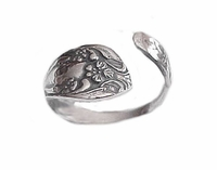 Plus Size Sterling Silver Flower Spoon Ring