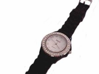 Plus Size Watch Black Strap Silver Face Accents Rim