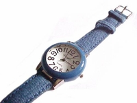 Plus Size Watch Blue Denim Strap to 8 Inch