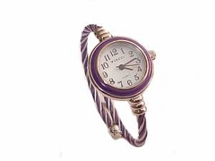 Plus Size Watch Cable Wrap Purple and Silver