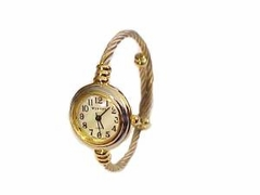 Plus Size Watch Cable Wrap Silver and Gold Tone