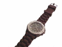 Plus Size Watch Chocolate Brown Strap Silver Face and Accents