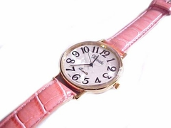 Plus Size Watch Gold and Pink Strap to 8.5 Inch