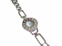 Plus Size Watch Silver Tone Round Face 8 Inch
