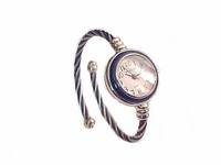 Plus Size Watch Women's Cable Wrap Navy and Silver
