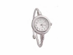 Plus Size Watch Women's Cable Wrap Silver and White