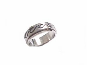 Plus Size Worry Ring Stainless Steel Ocean Wave