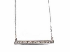 Silver Bar Necklace with Sparkling Accents