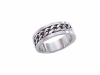 Stainless Steel Chain Link Plus Size Ring