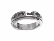 Stainless Steel Spinner Ring Worry Ring Footprints