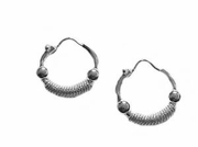 Sterling Silver Earrings 2 Bead Hoop Earring