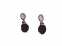 Sterling Silver Earrings Black Onyx and Mother of Pearl