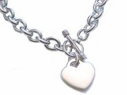 Plus Size Bracelet Sterling Silver Heart 8 to 11""