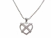 Plus Size Necklace Sterling Silver Open Cz Heart