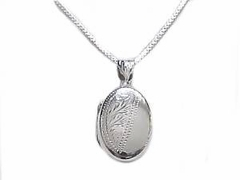 Sterling Silver Necklace Oval Locket Long Chains