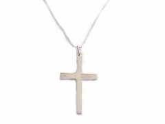 Sterling Silver Polished Cross Plus Size Chains