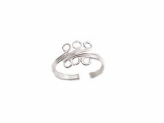 Sterling Silver Toe Ring Six Swirls