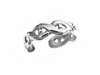 Sterling Silver Toe Ring Twist Weave and Bead