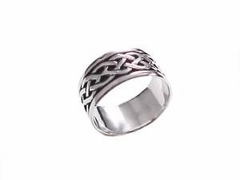 Wide Band Celtic Braid Sterling Silver Ring Plus Size