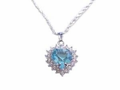 Sterling Silver Plus Size Necklace Blue Cz Heart