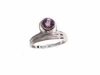 Plus Size Ring Sterling Silver Amethyst Drop