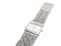Women's Plus Size Watch Silver Woven Mesh