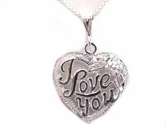 Plus Size Sterling Silver Necklace I Love You Heart