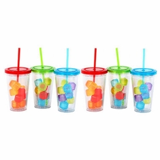 Acrylic Tumblers with Lid, Straw and Ice Cubes - Set/6 (2 per color)