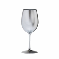 Metallic Silver Acrylic White Wine Glass