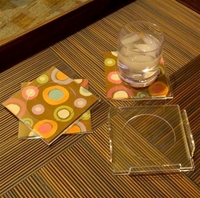 Acrylic Napkin Coasters and Holder Set