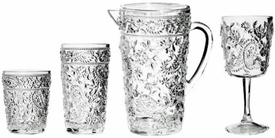 Paisley Clear Acrylic Glasses and Pitcher
