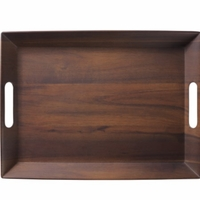 Rosewood Melamine Serving Tray with Handles